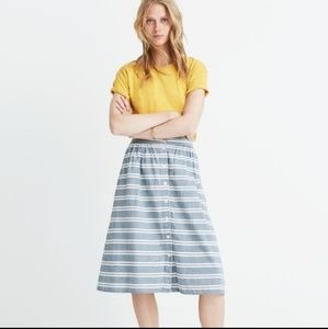 Madewell Button-Front Striped Skirt